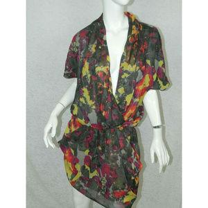 Rachel Roy Dress Floral Tunic Party Shirt Dress M